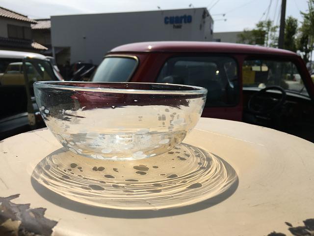 P-2 Persian手吹きガラス(白水玉ボウル) 約φ14.5×H6cm