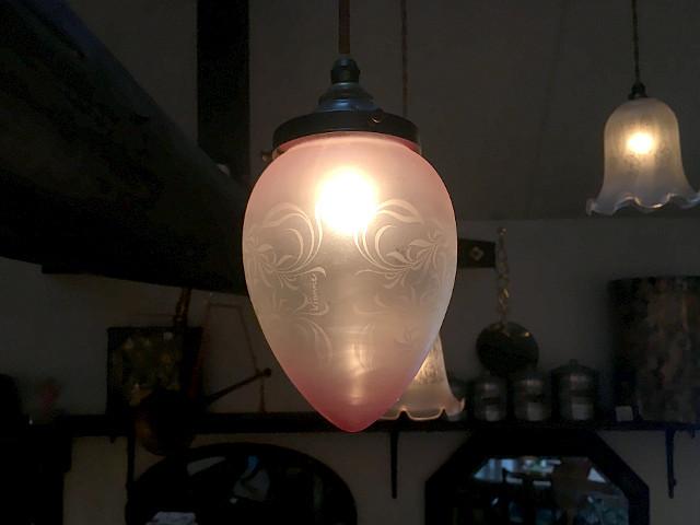 エッチングガラスシェード(卵型) 16034