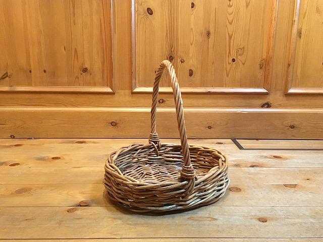紅籐ワンハンドルバスケット(オーバル)(W29×D25×H27cm)