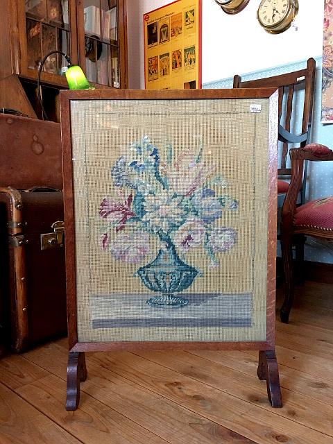 アンティーク プチポワン刺繍 スクリーン 19067