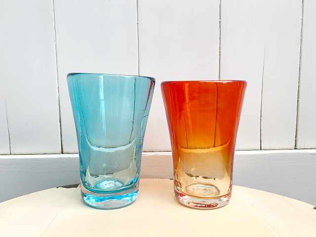 P-31 Persian手吹きガラス(カラーグラスBL・RD) 約φ7.5×H9cm