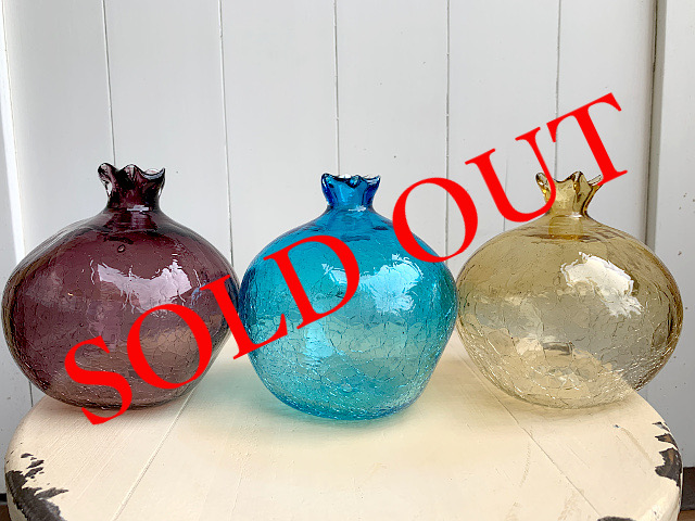 SOLD OUT P-20 Persian手吹きガラス(フラワーベースPL・BL・AM) 約φ12×H11.5cm