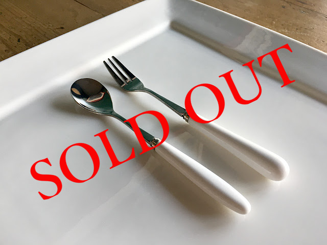 SOLD OUT T-16 PORCELAIN CUTLERY CYLINDER DESSERT SPOON・FORK